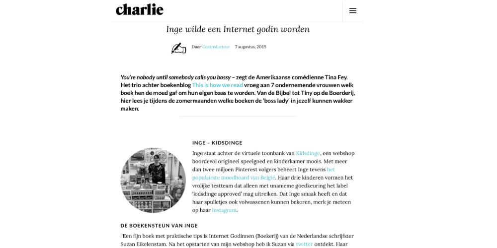 Kidsdinge Augustus 2015 Charlie magazine BE