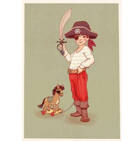 Belle en Boo Ahoy there piraat wenskaart enkel