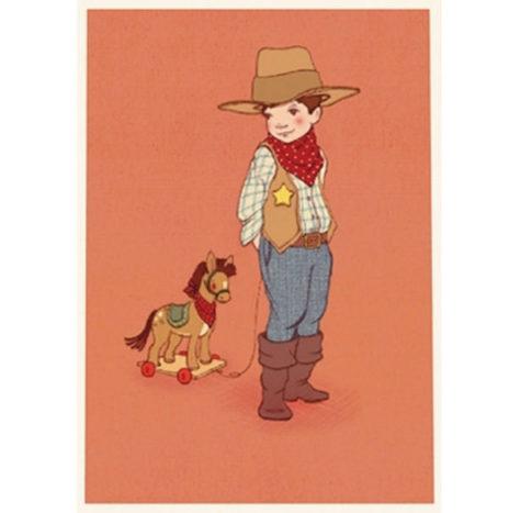 Belle en Boo Cowboy wenskaart enkel