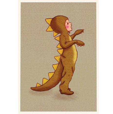 Belle en Boo Dinosaurus wenskaart enkel