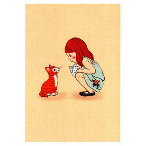 Belle en Boo Kitty wenskaart enkel