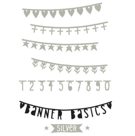 DIY Mini banner set cijfers symbolen zilver