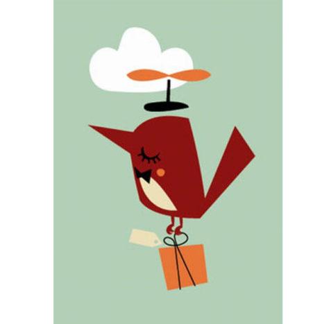 Darling Clementine vogel wenskaart enkel