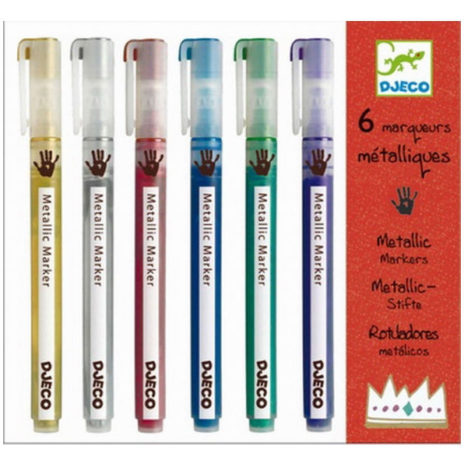 Djeco 6 coole metalic markers