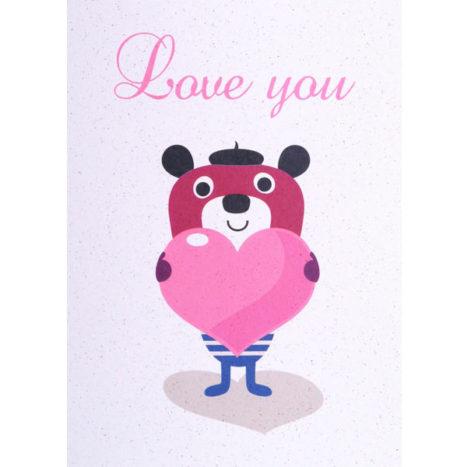 De LAATSTE Ingela Bear Love you wenskaart dubbel