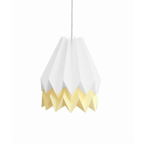 Origami lamp wit pastel geel