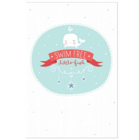 De LAATSTE Recto verso poster Swim free little fish 21×30