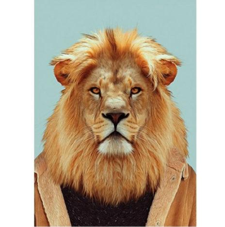 Stoere leeuw wenskaart dubbel