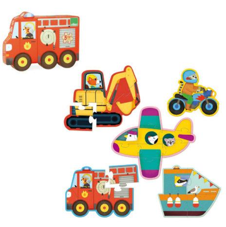Vilac set 5 houten voertuigen puzzels 2j