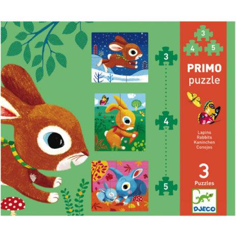 Djeco 3 konijn puzzels Primo 2j