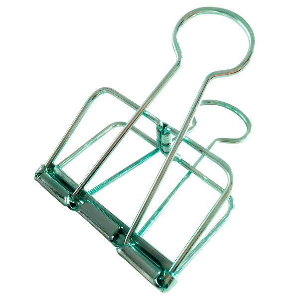 Set 2 large paperclips metallic mint