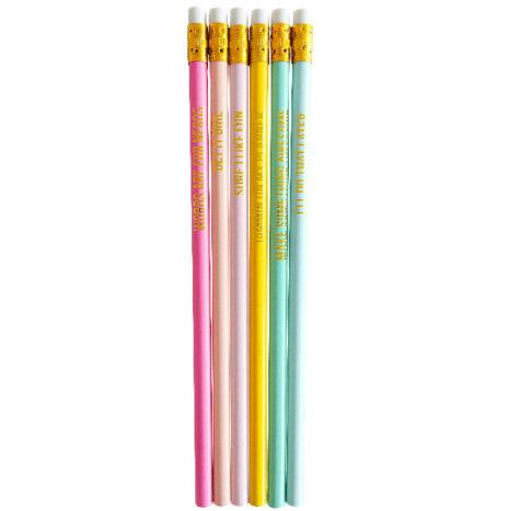 Set 6 potloden met leuke goudkleurige quotes