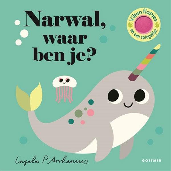 """Narwal, waar ben je?is van de de populaire peuterserie Waar ben je? van de Zweedse ontwerpster Ingela P Arrhenius. Flapjes In Narwal, waar ben je? zitten allerlei zeedieren achter de flapjes verstopt. Kun jij de octopus, de zeeschildpad, het zeepaardje en de narwal vinden? De flapjes zijn gemaakt van vilt: lekker zacht én stevig dus! Een zoek-en-vind-boekje voor de allerkleinsten, met als verrassing een spiegeltje op de laatste pagina. Ingela P Arrhenius Het werk van de Zweedse ontwerpster Ingela P Arrhenius is mateloos populair. Zowel peuters als hun (designliefhebbende) ouders zijn dol op haar onweerstaanbare illustraties en vormgeving. De stevige kartonnen peuterboeken van Ingela P Arrrhenius zijn geschikt voor kinderen vanaf 1 jaar. 10 pagina's De kinderboeken """"Eenhoorn, waar ben je?"""" en """"Kip,waar ben je?"""" zijn ook aanraders voor de allerkleinsten."""