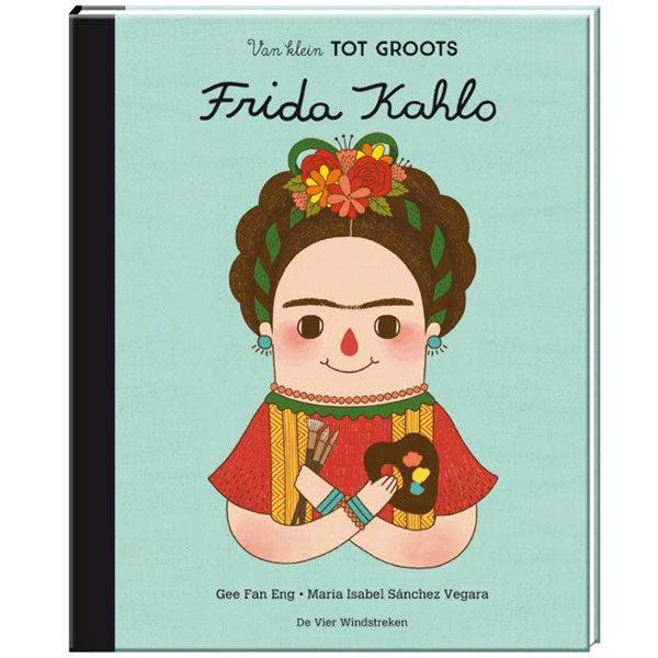 Van klein tot groots Frida Kahlo Dit boek is onderdeel van de serie 'Van klein tot groots', waarmee kinderen én volwassenen de levensverhalen ontdekken van belangrijke vrouwen uit de wereldgeschiedenis. Elk deel laat zien hoe een klein meisje met een grote droom opgroeide tot een sterke vrouw met grootse ideeën. Frida was een Mexicaanse kunstschilderes die uitgroeide tot een van de grootste kunsticonen van de 20e eeuw. Ze had een zeer persoonlijke en vrouwelijke schilderstijl en was daarnaast een bijzondere vrouw met een rebelse persoonlijkheid en een drang naar onafhankelijkheid. Ze wist tegenslagen als ziekte en een zwaar ongeluk de baas te worden en is daarmee ook vandaag de dag voor miljoenen vrouwen een voorbeeld van doorzettingsvermogen en moed. Deze inspirerende en informatieve biografie bevat achterin een tijdlijn en extra informatie over Frida's leven. Een prachtige, bonte reeks levensverhalen om te verzamelen door 6- tot 100-jarigen! Geschikt voor kinderen vanaf 6 jaar. Hardcover - 24 pagina's