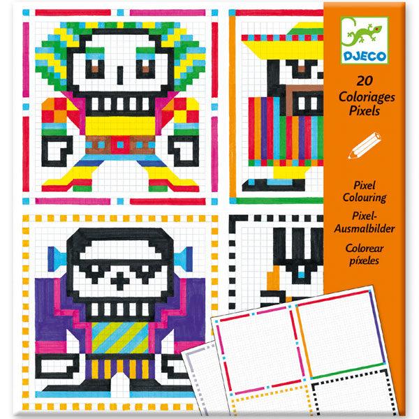 Djeco pixels kleuren Skull boys 7-13j Voor creatieve kinderen is deze tekenset een echte uitdaging. In de hersluitbare kartonnen zitten 2 voorbeelden en 20 lege pagina's om in te kleuren. De tekenset is geschikt voor kinderen vanaf 7 tot 13 jaar. Ontworpen door Christian Montenegro voor het Franse merk Djeco.