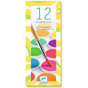 Djeco plakkaatverf neon 12 kleuren Van het Franse merk Djeco is deze verfdoos met 12 coole neon kleuren. Laat de creativiteit de vrije loop en maak de mooiste tekeningen en kunstwerkjes! Geschikt voor kinderen vanaf 4 jaar.