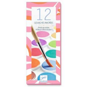 Djeco plakkaatverf parelmoer Van het Franse merk Djeco is deze verfdoos met 12 prachtige parelmoerige kleuren. Laat de creativiteit de vrije loop en maak de mooiste en tekeningen en kunstwerkjes! Geschikt voor kinderen vanaf 4 jaar.