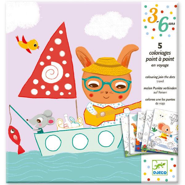 Djeco verbind de stippen 3 - 6 jaar Verbind de stipjes en ontdek welke tekening er te voor schijn komt. Kleur daarna de tekening verder af. Ideaal voor de fijne motoriek voor kinderen vanaf 3 jaar. De mooie illustraties zijn van Peggy Nille voor het Franse merk Djeco.