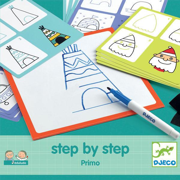 Djeco step by step primo vanaf 3j Step by step is een educatieve tekenset van het Franse merk Djeco. In de stevige kartonnen doos zitten 24 voorbeeldkaarten, een afwasbaar tekenbord,een stift en een zwart doekje. Op de voorbeeldkaarten staan afbeeldingen die je stap na stap kan leren natekenen. Er zitten o.a afbeeldingen in van een tipi, iglo,een boot,indiaan,kasteel,boom,.. De educatieve tekenset is ideaal voor kinderen vanaf 3 jaar om de fijne motoriek te beoefenen.