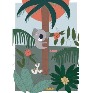 Liezelijn koala poster 50 x 70 Deze lieve koala doet een dutje. Met deze poster ben je helemaal mee met de laatste kleurentrends. De exotische kleuren zoals het groen en warme roze geven de ruimte een warme uitstraling. Digitaal gedrukt in full color op 250gr houtvrij gesatineerd mc papier. Ontworpen door de Belgische graphic designer Lies van Liezelijn, en in beperkte oplage verkrijgbaar. De unieke posters zijn ook verkrijgbaar met een luiaard, vlinders en het oceaan thema.