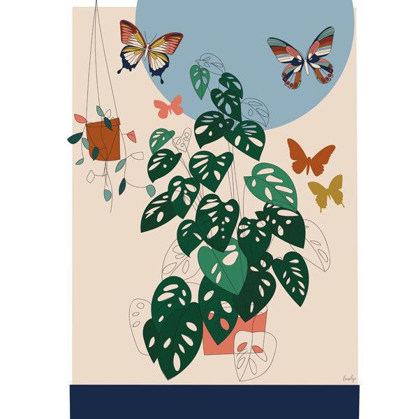 Liezelijn vlinder poster 50 x 70 Een mooie planten poster met gekleurde vlinders. Voor botanische sferen in de kamer. De verschillende tinten groen en de gekleurde vlinders zorgen voor een rustgevende uitstraling. Digitaal gedrukt in full color op 250gr houtvrij gesatineerd mc papier. Ontworpen door de Belgische graphic designer Lies van Liezelijn, en in beperkte oplage verkrijgbaar. Prachtig in de baby of kinderkamer of gewoon als cadeautje voor jezelf! De unieke posters zijn ook verkrijgbaar met een luiaard, koala en het oceaan thema.