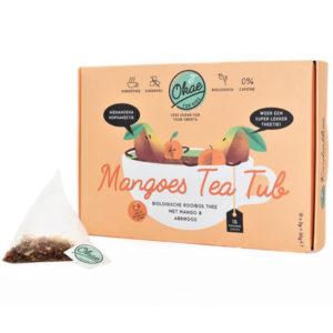 Okae kinderthee biologisch mango en abrikoos Mangoes Tea Tubis een heerlijke biologische rooibos thee van hoge kwaliteit en zit vol met echte stukjes mango en abrikoos. De thee is vrij van suiker en cafeïne enzorgvuldig verpakt in volledig biologisch afbreekbare piramidezakjes die ervoor zorgen dat de geur en smaak goed afgegeven wordt aan het water. De lekkerekindertheeis geschikt voor kinderen vanaf 12 maanden en ook lekker alsijsthee! Ideaal als gezonde vervanger van limonade, de kinderthee is suikervrij,biologisch en bevat 0% cafeïne. Ingrediënten: Rooibos natuurlijk* mango stukken* (3%), goudsbloem geel*, sinaasappelschil*, rozenblaadjes*, korenbloem blauw*, abrikoos*, natuurlijk aroma.* Van gecertificeerd biologische teelt. Kan sporen van noten, melk en soya bevatten. Inhoud: 15biologisch afbreekbare piramidezakjes à 2 gram (15x 2g = 30g) • Gooi je zakje niet meteen weg, je kan hem gerust nog een keer gebruiken! Voedingswaarde per 100ML thee: Energie 1kJ/0kcal, Vetten