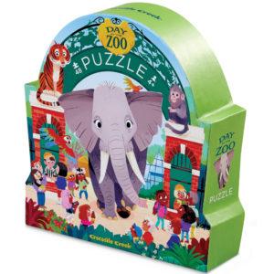 """Crocodile Creek Day at the zoo puzzel 48 stuks vanaf 4j De Day at the zoo puzzel is een educatieve puzzel voor kinderen vanaf 4 jaar. In de mooie silhouet doos zitten 48 stevige kartonnen puzzelstukken. Ga op stap in de zoo en ontdek al spelenderwijs de verschillende dieren. De afmeting van """"de dag in de dierentuin"""" is 45cm x 60cm. De mooie puzzel is geschikt voor kinderen vanaf 4 jaar. De prachtige puzzels zijn ontworpen in New York door het Amerikaanse merk Crocodile Creek. De puzzel en de verpakking zijn gemaakt van 100% gerecycled karton en gedrukt met inkt op soja basis en watergedragen lak. Ontdek ook de andere collectie met de art, aquarium,dinosaurus en space puzzels."""