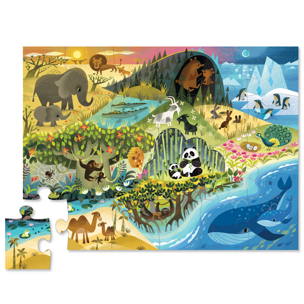 """Crocodile Creek vloerpuzzel - Waar dieren wonen 24 stuks vanaf 2j """"Waar dieren wonen"""" is een vloerpuzzel met 24 puzzelstukken voor de allerkleinsten vanaf 2 jaar. Op de binnenkant van het deksel staan de verschillende dieren afgebeeld, zodat je ze spelenderwijs kan zoeken in de puzzel. De vloerpuzzel is 45cm x 60cm,gedrukt met inkt op soja basis en watergedragen lak. De kartonnen puzzel en de verpakking zijn gemaakt van 100% gerecycled FSC karton. Ontworpen door het Amerikaanse merk Crocodile Creek in New York."""