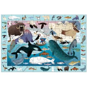 Mudpuppy Observatiepuzzel Artic life 64 stuks vanaf 4j Artic life is een observatiepuzzel van 59cm x 39cm van het Amerikaanse merk Mudpuppy. In de mooie kartonnen doos zitten 64 stevige puzzelstukken en een poster met alle dieren. De puzzel is geschikt voor kinderen vanaf 4 jaar. Zoek al spelenderwijs alle 40 dieren op de puzzel en de bijhorende poster. De puzzel is gemaakt van 90% gerecycled karton en de verpakking van 70% gerecycled karton. Gedrukt metinkt op soja basis en watergedragen lak. Ontworpen door Mudpuddy in New York.