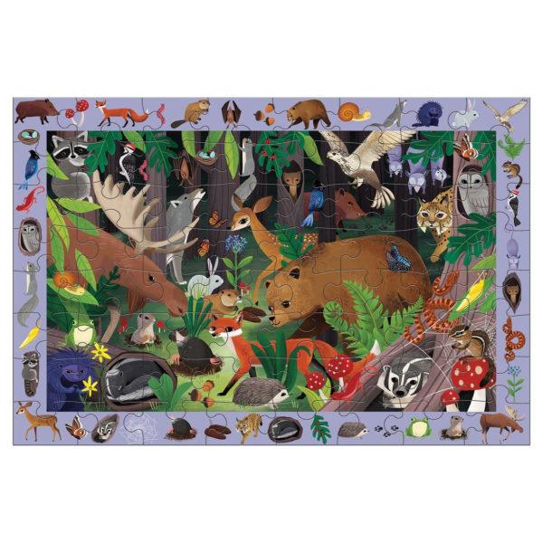 Mudpuppy Observatiepuzzel Woodland 64 stuks vanaf 4j Woodland is een observatiepuzzel van 59cm x 39cm van het Amerikaanse merk Mudpuppy. In de mooie kartonnen doos zitten 64 stevige puzzelstukken en een poster met alle dieren in het bos. De puzzel is geschikt voor kinderen vanaf 4 jaar. Zoek al spelenderwijs alle 40 dieren op de puzzel en de bijhorende poster. De puzzel is gemaakt van 90% gerecycled karton en de verpakking van 70% gerecycled karton. Gedrukt metinkt op soja basis en watergedragen lak. Ontworpen door Mudpuddy in New York. De Artic life observatiepuzzel is ook een leuke variant!
