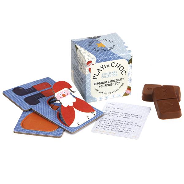 Chocolade & surprise - Kerstmis - Biologisch en glutenvrij Playinchoc is een surprise box met 2 biologische, glutenvrije,veganistische en notenvrije chocolaatjes en een kartonnen 3D puzzel om in elkaar te zetten. In de mooie organische verpakking zit ook een kaartje met weetjes over het kartonnen 3D figuurtje. Verzamel de 6 mooie 3D figuurtjes! Ideaal als klein cadeautje tijdens de feestdagen of leuk onder de Kerstboom. Ook verkrijgbaar in een limited dinosaurusof bedreigde diersoorten editie.