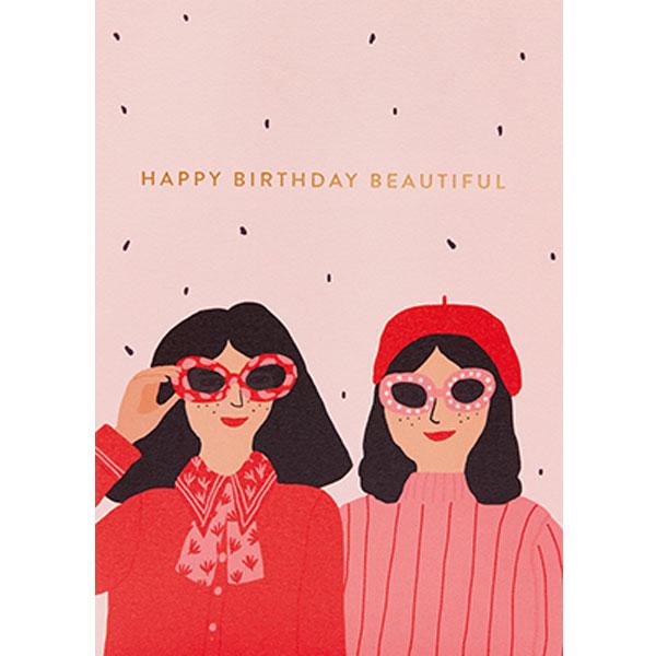Jennifer Bouron Happy Birthday beautiful wenskaart Jennifer Bouron is een Franse print designer en illustrator. Na 3 jaar prints te ontwerpen voor verschillende modemerken voor kinderen is Jennifer Bouron haar freelance bedrijf gestart. De ontwerpen van Jennifer Bouron staan bekend als gedurfd en eigentijds met opvallende kleurkeuzes. De blanco dubbele wenskaart is gedrukt in Engeland en geprint op gerecycled papier.