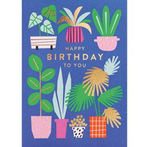 """Ekaterina Trukhan """"Happy Birthday to you"""" wenskaart Ekaterina Trukhan is een Russische illustrator afgestudeerd aan de Camberwell College of Arts. Ze maakt illustraties voor kinderboeken, wenskaarten en tijdschriften voor klanten van over de hele wereld. Ze is ook auteur van kinderboeken die ondertussen gepubliceerd zijn in Engeland, de Verenigde Staten, Rusland, Frankrijk,Brazilië, Zuid-Korea,China en Tjechië. De wenskaart heeft gouden details, letters en is gedrukt op gerecycled papier, inclusief een witte enveloppe. De prachtige blauwe wenskaart met hippe planten is ideaal voor een verjaardag."""