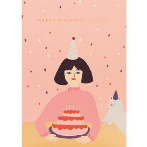 Jennifer Bouron Happy Birthday to you wenskaart Jennifer Bouron is een Franse print designer en illustrator. Na 3 jaar prints te ontwerpen voor verschillende modemerken voor kinderen is Jennifer Bouron haar freelance bedrijf gestart. De ontwerpen van Jennifer Bouron staan bekend als gedurfd en eigentijds met opvallende kleurkeuzes. De blanco dubbele wenskaart is gedrukt in Engeland en geprint op gerecycled papier.