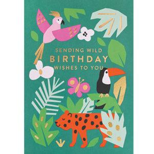 """Ekaterina Trukhan """"Sending wild Birthday wishes to you"""" wenskaart Ekaterina Trukhan is een Russische illustrator afgestudeerd aan de Camberwell College of Arts. Ze maakt illustraties voor kinderboeken, wenskaarten en tijdschriften voor klanten van over de hele wereld. Ze is ook auteur van kinderboeken die ondertussen gepubliceerd zijn in Engeland, de Verenigde Staten, Rusland, Frankrijk,Brazilië, Zuid-Korea,China en Tjechië. De wenskaart heeft gouden details, letters en is gedrukt op gerecycled papier, inclusief een witte enveloppe. De prachtige groene wenskaart met wilde dieren is ideaal voor een verjaardag."""