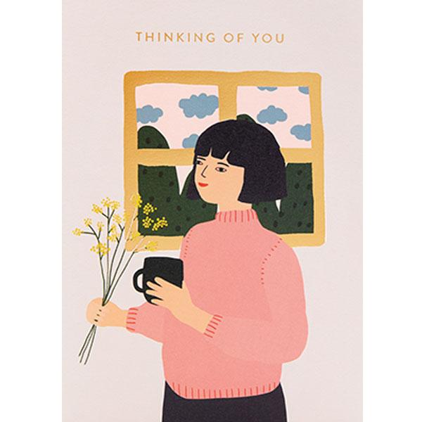 Jennifer Bouron Thinking of you Jennifer Bouron is een Franse print designer en illustrator. Na 3 jaar prints te ontwerpen voor verschillende modemerken voor kinderen is Jennifer Bouron haar freelance bedrijf gestart. De ontwerpen van Jennifer Bouron staan bekend als gedurfd en eigentijds met opvallende kleurkeuzes. De blanco dubbele wenskaart is gedrukt in Engeland en geprint op gerecycled papier.