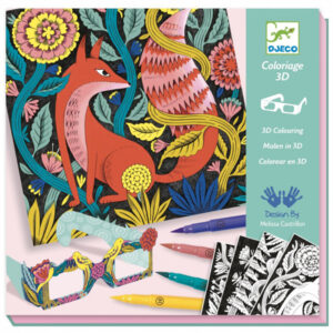 Djeco 3D tekenset fantasiebos vanaf 7-13j Van het Franse merk Djeco is deze coole 3D fantasiebos tekenset. In de mooie hersluitbare doos zitten 4 tekeningen, 7 viltstiften, een 3D bril en een stap voor stap instructieboekje. De 3D tekenset is geschikt voor kinderen vanaf 7 - 13 jaar. Ideaal als verjaardagscadeautje. De mooie illustraties zijn van de Engelse illustrator Melissa Castrillon.