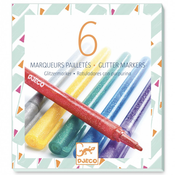 Djeco 6 glitter markers Van het Franse merk Djeco is deze set met 6 glitter markers om je creatief uit te leven. De glitter markers zijn geschikt voor creatieve kinderen vanaf 6 jaar. De metallic markers zijn ook een aanrader.