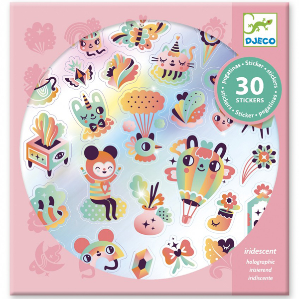 Djeco Lovely rainbow stickers Van het Franse merk is deze setlovely rainbow stickers. In de hersluitbare verpakking zitten 30 verschillende holografische stickers. Ideaal als verjaardagscadeautje of om je schatten mee te versieren. De stickers zijn geschikt voor kinderen vanaf 4 - 8 jaar en de mooie illustraties zijn van Muxxi.