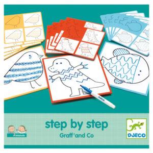Djeco Step by step tekenset Graff and Co vanaf 3-7 j Djeco Step by step Graff and Co is een tekenset voor kinderen vanaf 3 jaar van het Franse merk Djeco. In de stevige opbergdoos zitten 30 voorbeelden met o.a een dinosaurus, vogel en vis om stap voor stap te leren tekenen. Op basis van geometrische vormen maak je met een paar potloodlijnen mooie tekeningen. Inclusief een zwarte stift en veegdoekje. De step by step tekenset Geo van Djeco is een leuke variant!