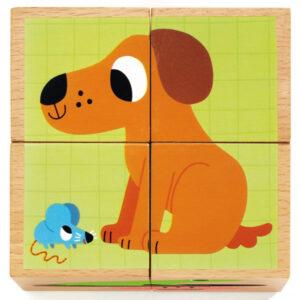Djeco houten kubus puzzel dieren vanaf 2j Van het Franse merk Djeco is deze mooie houten kubus puzzel met 4 blokken. Draai de 4 houten blokken om tot je een hond,eend,kikker,paard,schildpad of hondje hebt gemaakt. De houten dieren kubus puzzel is geschikt voor kinderen vanaf 2 jaar. Ideaal voor de fijne motoriek en om extra woordjes te leren. De mooie illustraties zijn van de Franse illustrator Marion Billet.