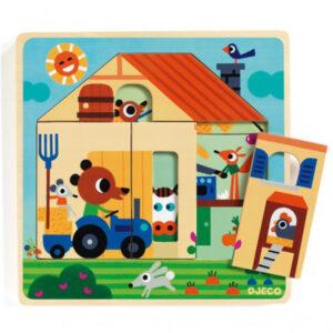 Djeco puzzel 3 lagen Chez Gaby vanaf 2j Van het Franse merk Djeco is deze houten puzzel met 3 lagen. In de mooie hersluitbare doos zit een houten puzzel met 9 verschillende puzzelstukken. Ontdek achter elk puzzelstuk een nieuw figuurtje op de boerderij. De educatieve houten puzzel is geschikt voor kinderen vanaf 2 jaar om de fijne motoriek te beoefenen en extra woordjes te leren. De mooie illustraties zijn van de Belgische illustrator Vincent Mathy