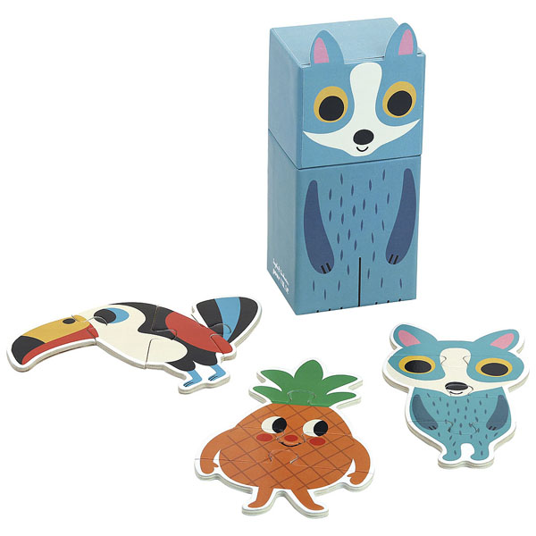 Van het Franse merk Vilac is deze mooie set puzzels voor de allerkleinsten vanaf 2 jaar. In de leuke vos verpakking zit een vos,ananas en vogel puzzel met 4 kartonnen puzzelstukken. De illustraties zijn van de Zweedse illustrator Ingela P Arrhenius. Ontdek ook de leuke set beer puzzels.