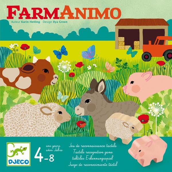 Djeco Farmanimo vanaf 4 jaar Farmanimo is een samenwerkingsspel voor kinderen vanaf 4 - 8 jaar. Je moet de dieren snel naar de wei brengen,voordat de boer uit de grote stad terugkomt! Een gemakkelijk en erg leuk spel om te leren samenspelen en de tastzin te ontwikkelen. De mooie illustraties zijn van Ilya Green voor het Franse merk Djeco.