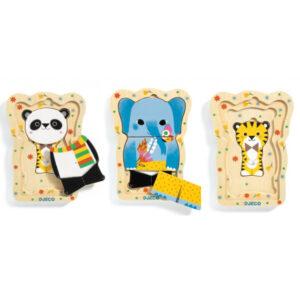 Lucky en Co is een houten puzzel met 3 niveaus voor kinderen vanaf 18 maanden oud. De houten puzzel is ideaal voor de fijne motoriek te beoefenen en verpakt in een stevige kartonnen hersluitbare doos. De mooie illustraties zijn van Géraldine Cosneau voor het Franse merk Djeco.