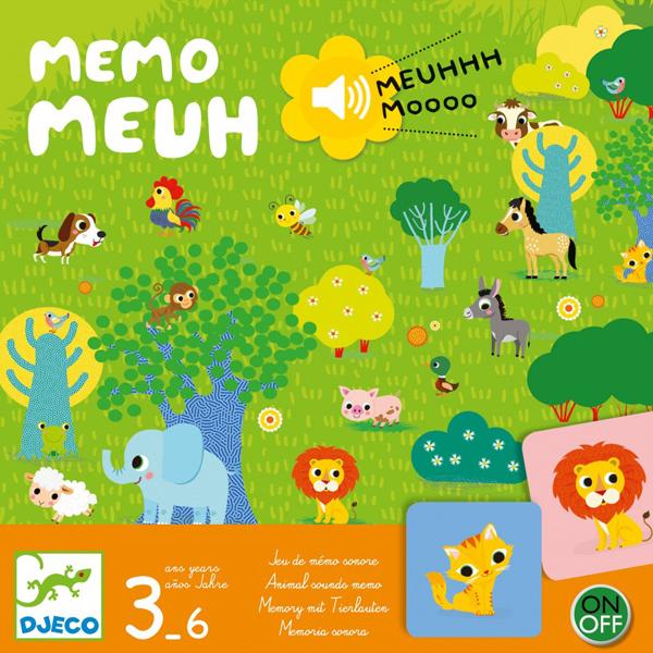 Djeco Memo Meuh geluidenmemory vanaf 3j Memo Meuh is een geluidenmemory van het Franse merk Djeco. Een grappig spel waarbij je op een gele knop moet drukken en goed moet luisteren om een dierengeluid te herkennen,waarna je het dier moet vinden tussen de kaarten. Een klassieker in een nieuw jasje. De memo meuh stimuleert het geheugen en gehoor voor kinderen vanaf 3 jaar. De speelduur van de memory is 10 minuten,geschikt voor 2 tot 4 spelers. De mooie illustraties zijn van Caroline Faup voor het Franse merk Djeco.