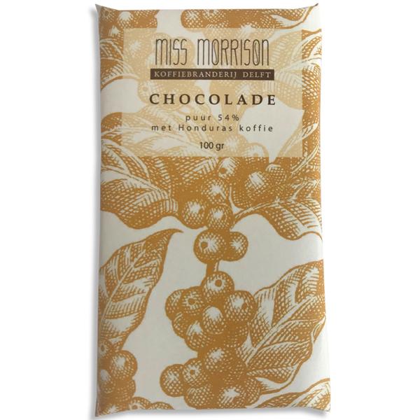 Chocolade puur met koffie Miss Morrison Pure chocolade met vers gebrande (en gemalen) Honduras koffie van Miss Morrison. Deze perfecte combinatie van koffie en 54% pure chocolade smaakt naar meer. Proef ook de lekkere melkchocolade variant met vers gebrande en gemalenEthiopische Yirgacheffe koffie. Een verwenmoment voor jezelf of om cadeau te geven.