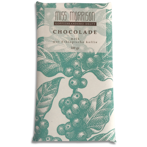 Melkchocolade met koffie Romige melkchocolade met vers gebrande (en gemalen) Ethiopische Yirgacheffe koffie. Proef ook de 54% pure chocolade met gemalen Honduras koffie.
