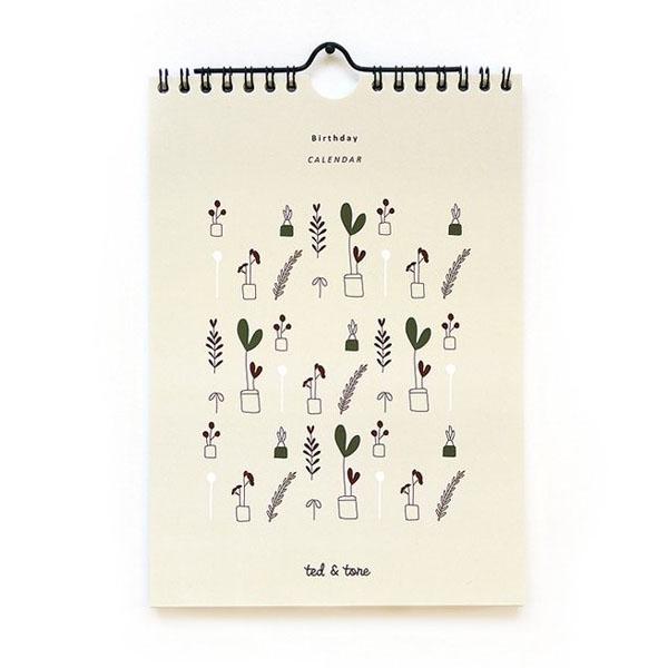 Birthday Kalender A5 Ted & Tone 12 pagina's met Ted- en Tone-tekeningen, één voor elk seizoen en elke maand! Gedrukt in Nederland op gerecycled papier. A5 formaat.