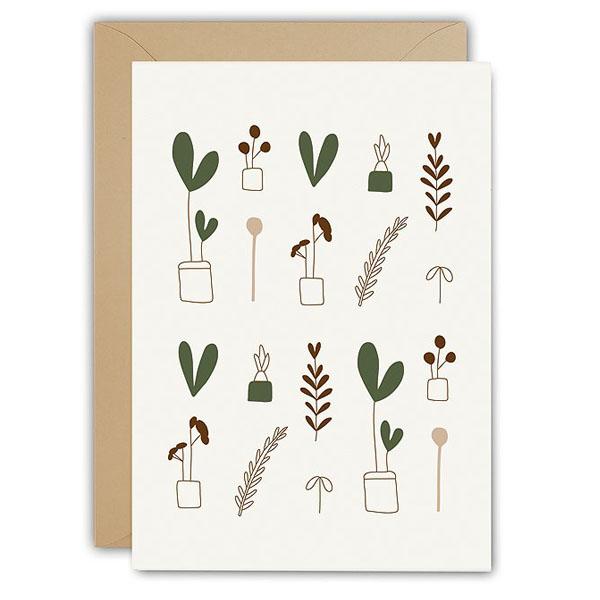 Plants wenskaart Ted & Tone Gedrukt in Nederland op Paperwise papier, gemaakt van landbouwafval zodat er geen boom gekapt hoeft te worden. Dubbele wenskaart 10x15cm, inclusief envelop.